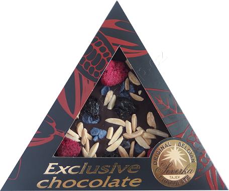 Exclusive Chocolate Hořká – MALINY & VIŠNĚ & MANDLE & FIALKY