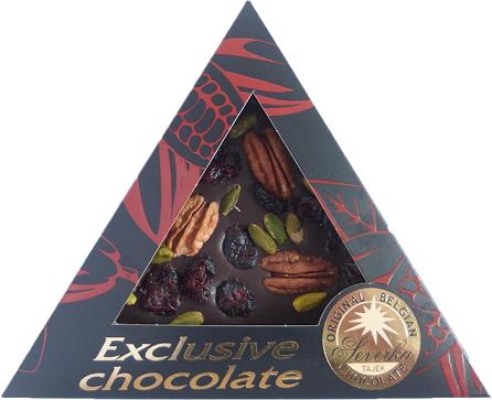 Exclusive Chocolate Hořká – PEKANOVÉ OŘECHY & PISTÁCIE & BRUSINKY