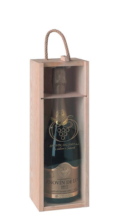 Dřevěná bedýnka na sekt se sklem na 1 x 0,75 l