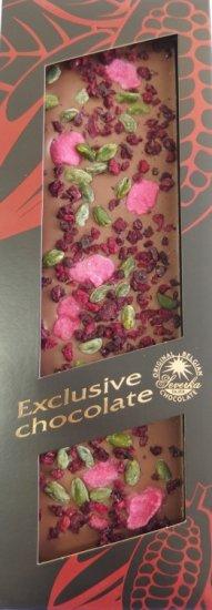Exclusive Chocolate Mléčná – PISTÁCIE & RŮŽE & VIŠNĚ