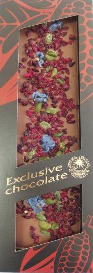 Exclusive Chocolate Mléčná – PISTÁCIE & VIŠNĚ & ŠEŘÍK