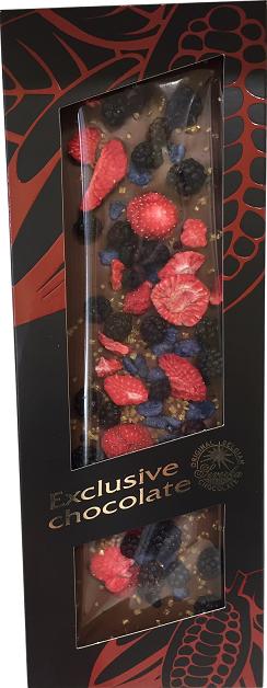 Exclusive Chocolate Mléčná – OSTRUŽINY & JAHODY & FIALKY & ZLATÉ KRYSTALKY