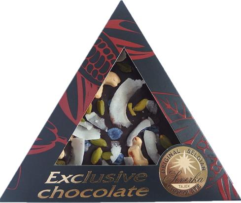 Exclusive Chocolate Mléčná – KEŠU OŘÍŠKY & PISTÁCIE & FIALKY & KOKOS